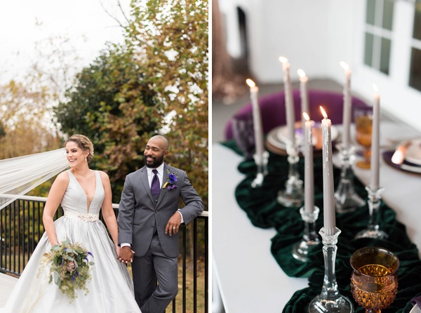 Gray wedding dress and gray candlesticks for a fall wedding