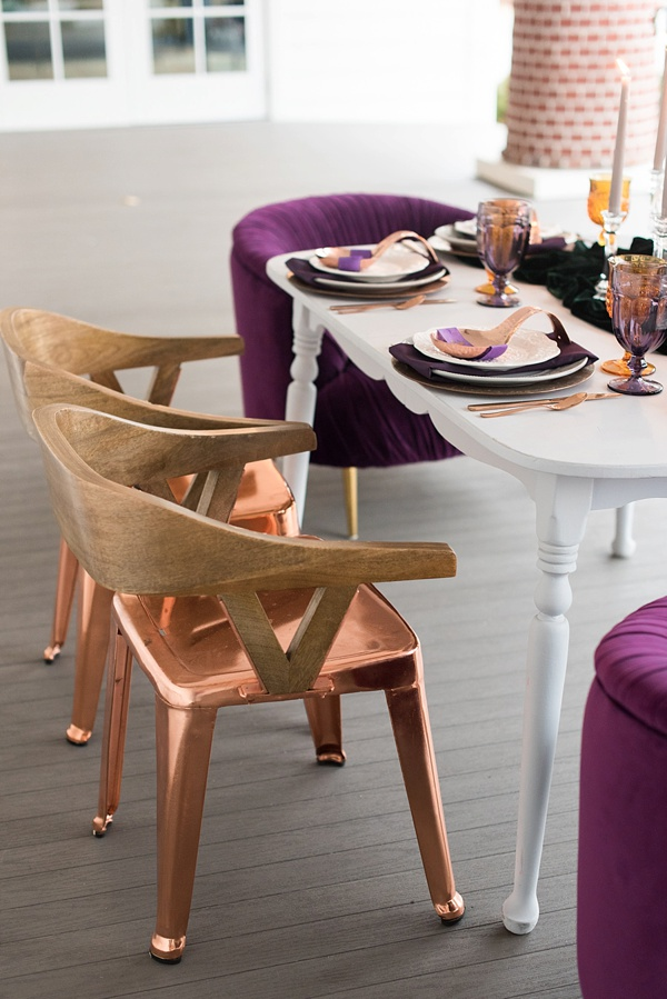 Copper and wood sweetheart table chairs for a fun vintage modern wedding look