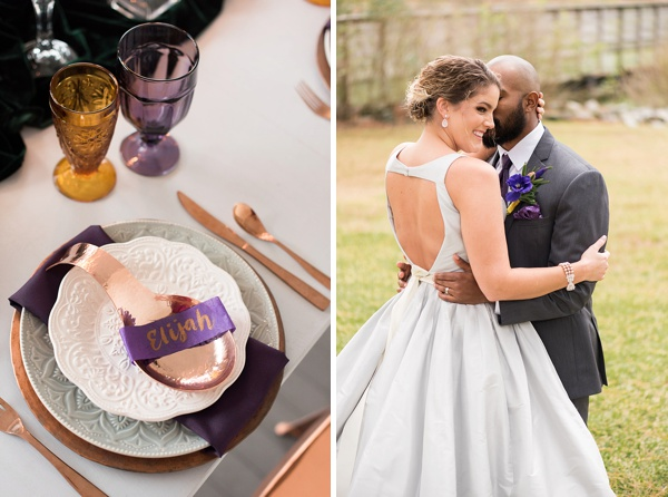 Copper and amethyst purple wedding table details