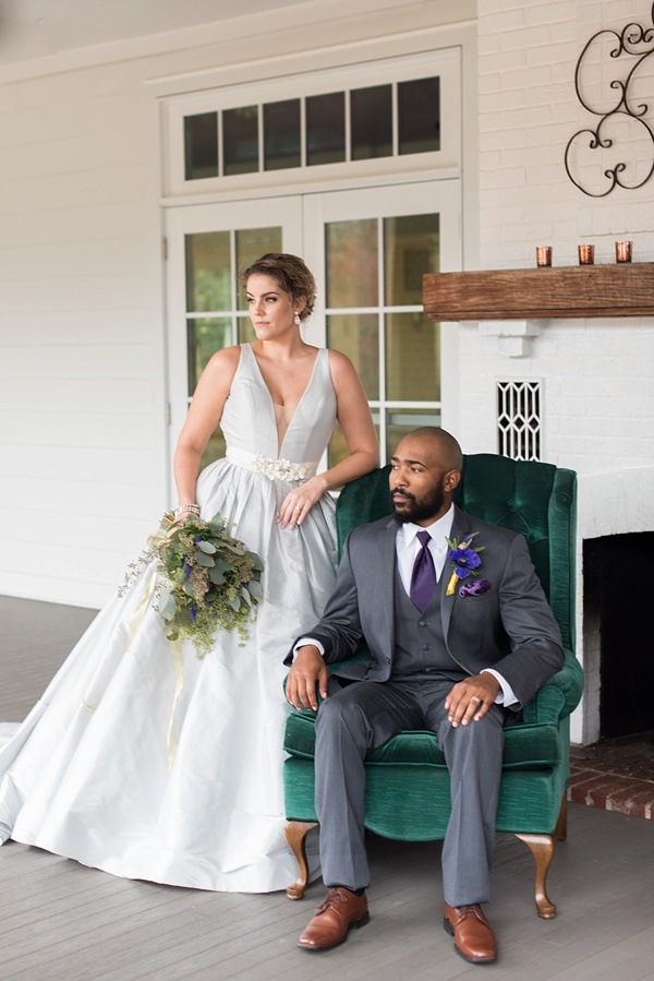 Stylish gray wedding dress with plunging neckline