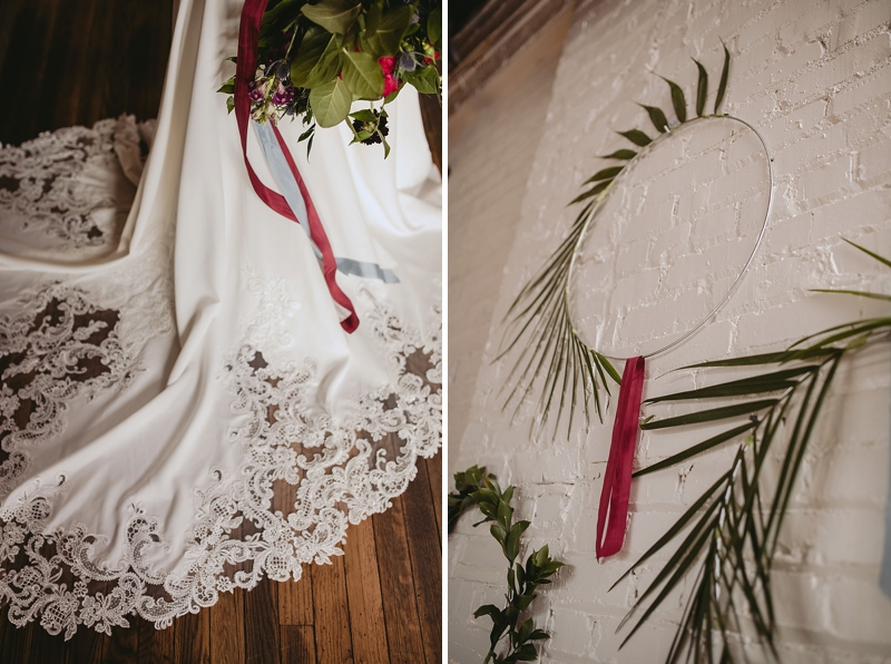 Intricate lace wedding dress train for boho bride in Richmond Virginia