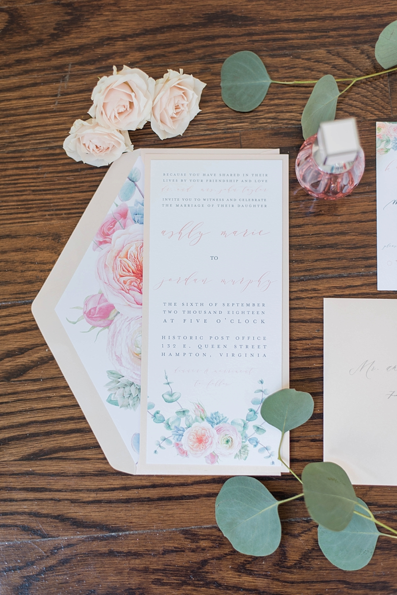 Romantic watercolor wedding invitation with garden roses and ranunculus in the design