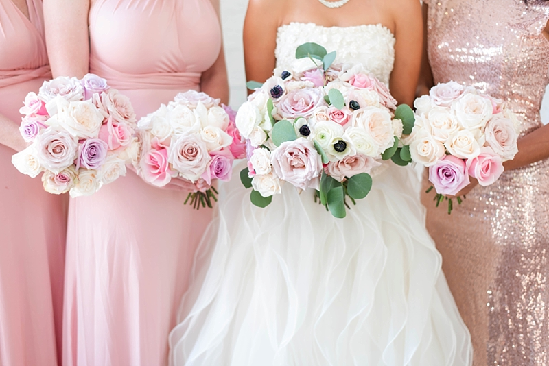 Romantic and classic pink and white wedding bouquets with anemones and roses