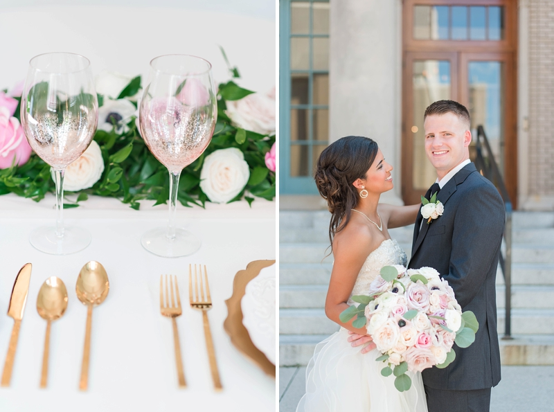 Classic pink and white wedding ideas with gold flatware and blush pink glassware