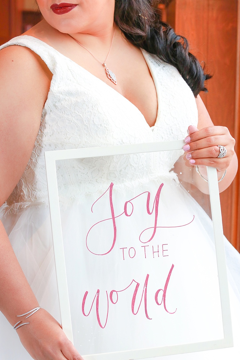 Lovely Joy to the World Christmas wedding calligraphy sign