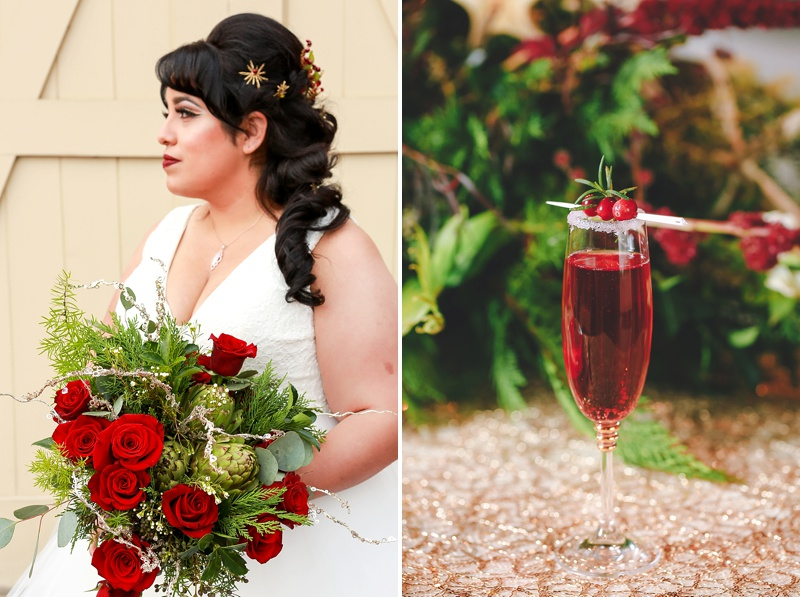 Glam red and green Christmas wedding ideas for Virginia
