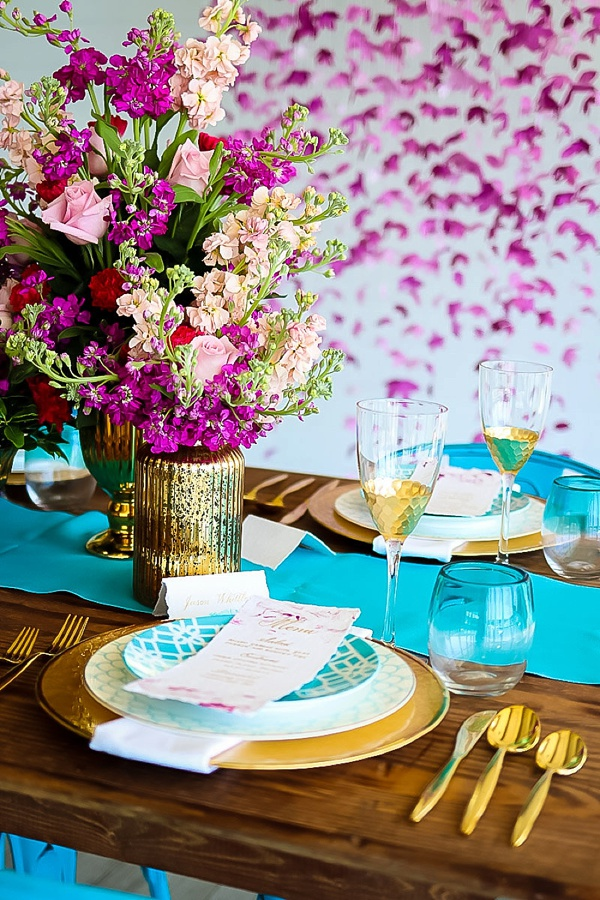 vibrant turquoise and magenta coastal wedding inspiration