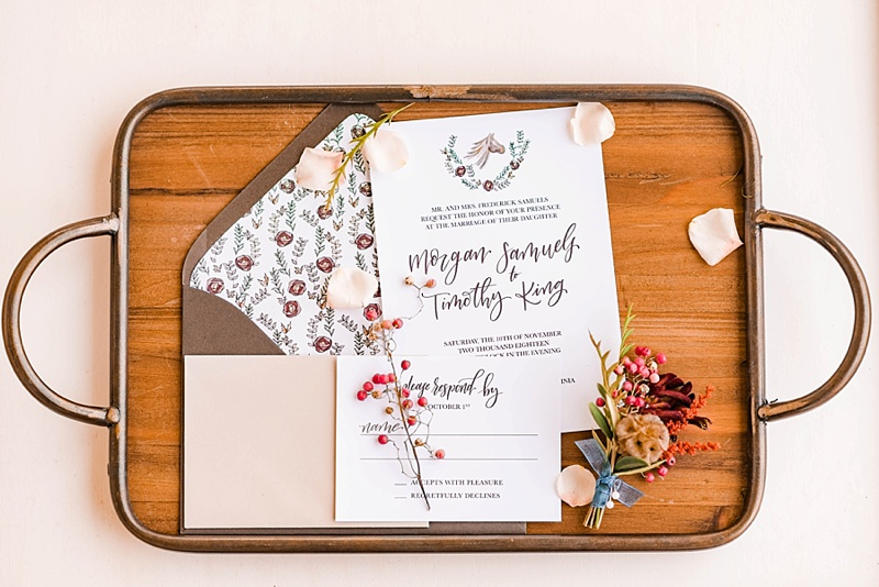 Horse inspired wedding stationery with custom floral envelope liner