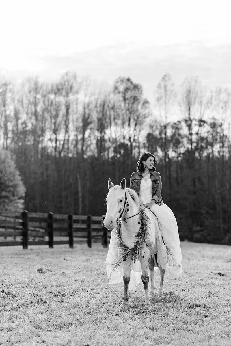 Bride and her horse for a barn wedding in Virginia