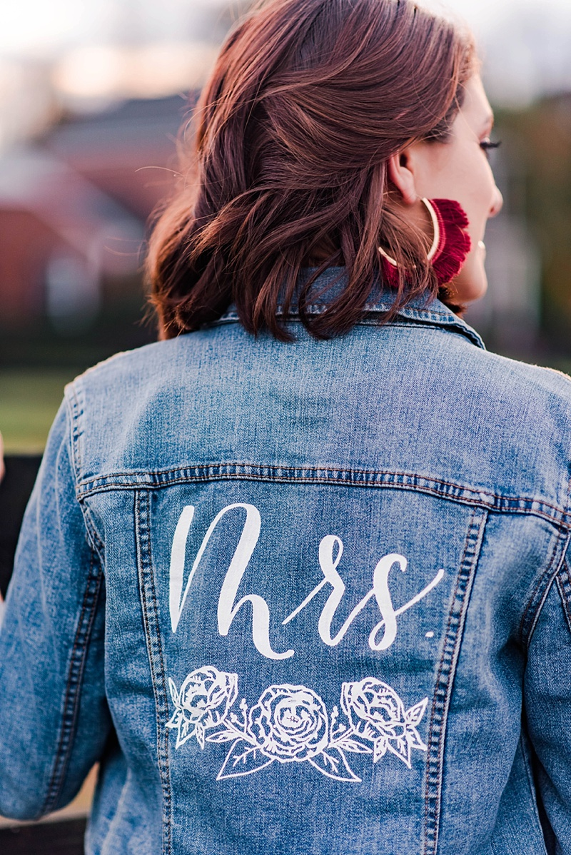 Adorable bridal jean jacket with custom Mrs calligraphy