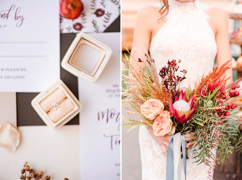 Fall inspired wedding ideas with red and orange flowers
