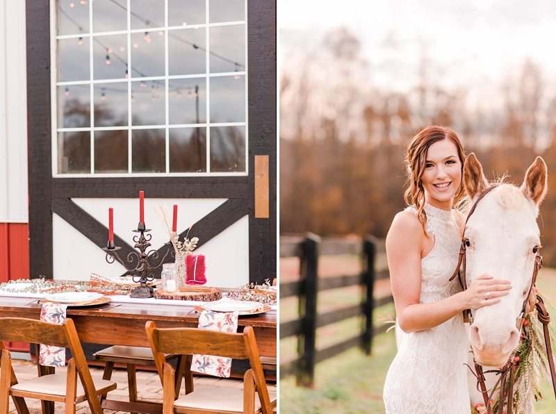 Barn wedding ideas with red candlesticks and patterned napkins