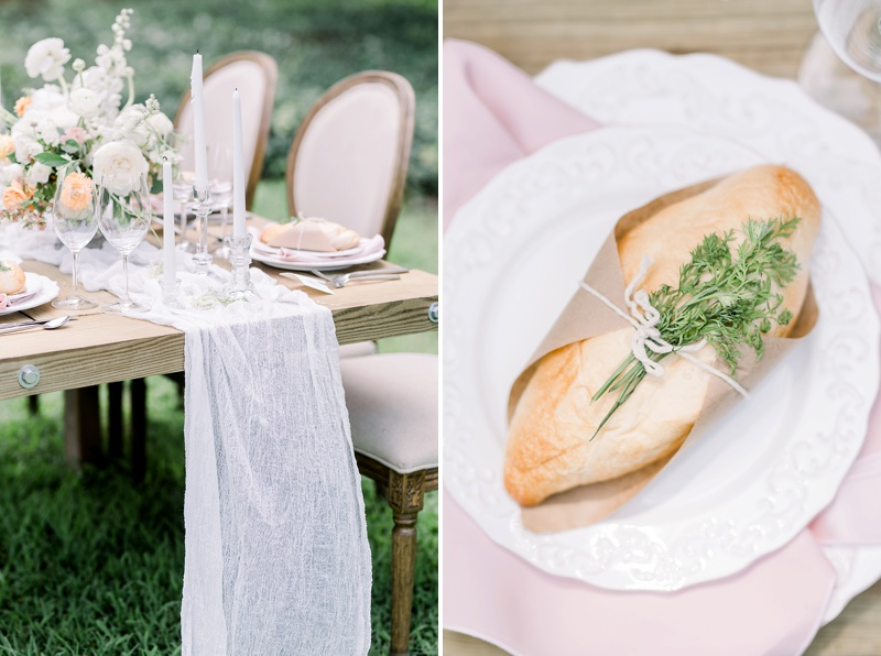 French inspired wedding table with wrapped baguette bread on top of place settings