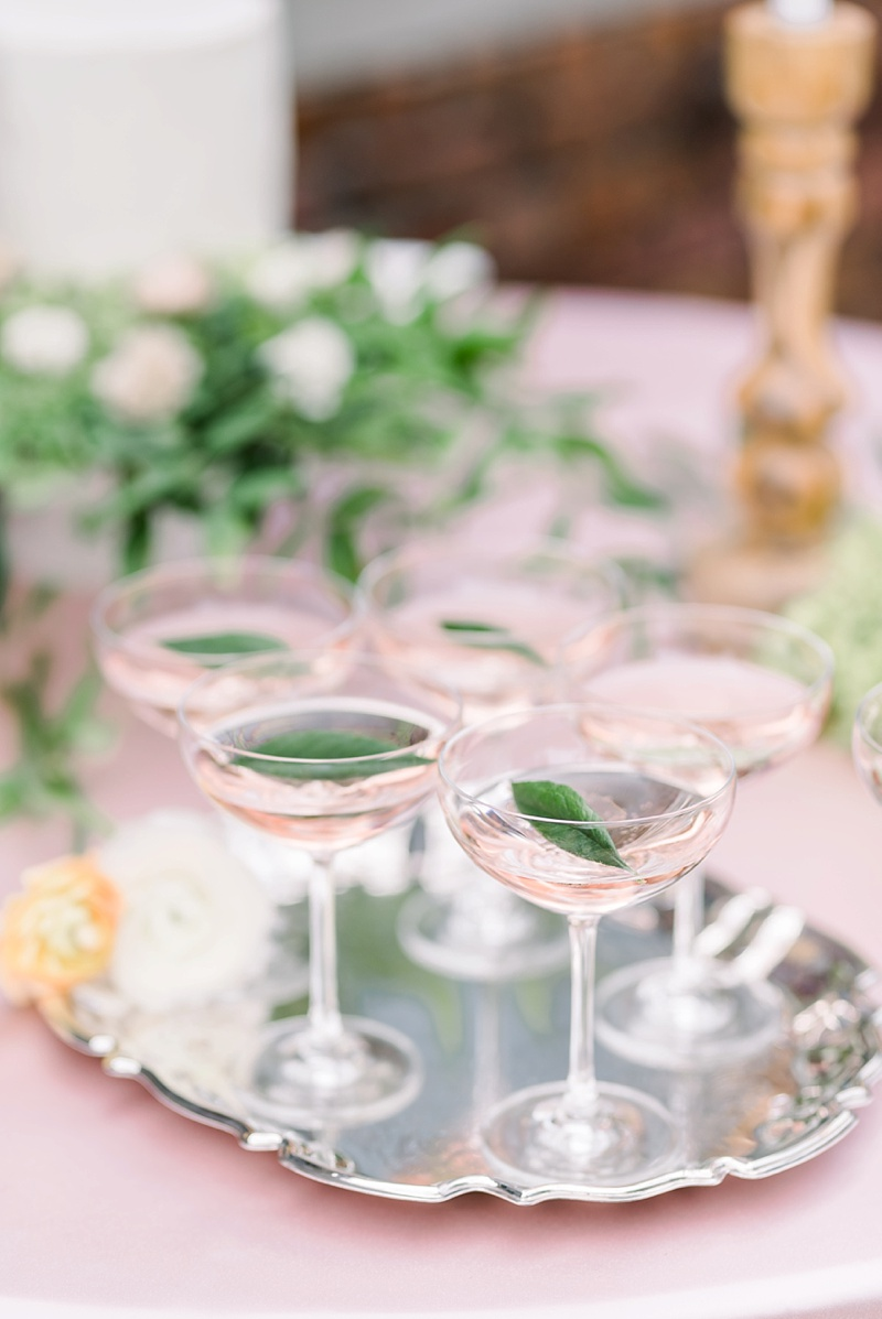 Pink champagne signature cocktail idea for French countryside wedding