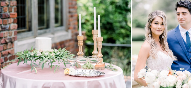 Simply elegant cake table for rustic French inspired wedding