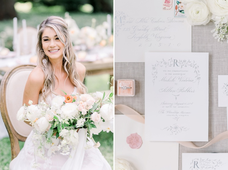 Pink and white ideas for French countryside wedding in Virginia