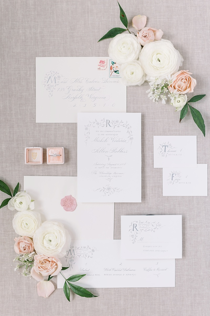 Romantic illustrated wedding stationery with delicate rose detailings