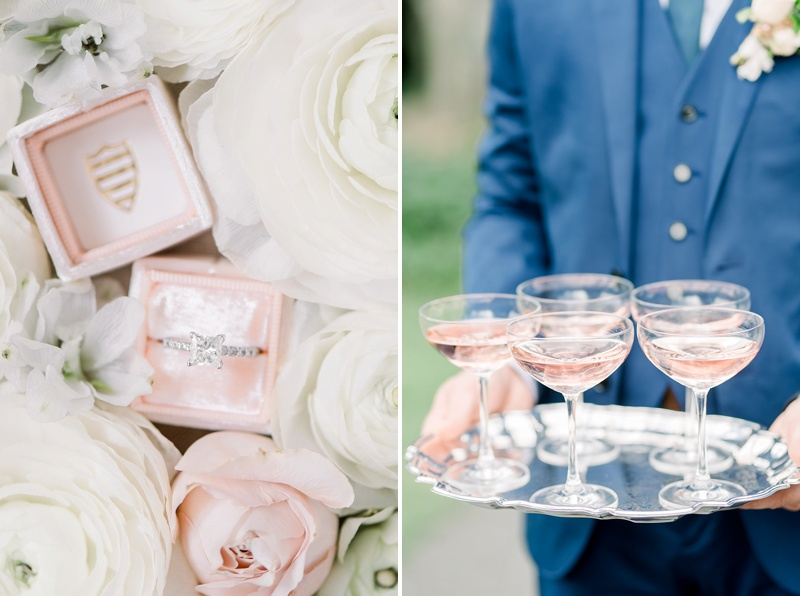 Pink champagne toast for French countryside inspired wedding