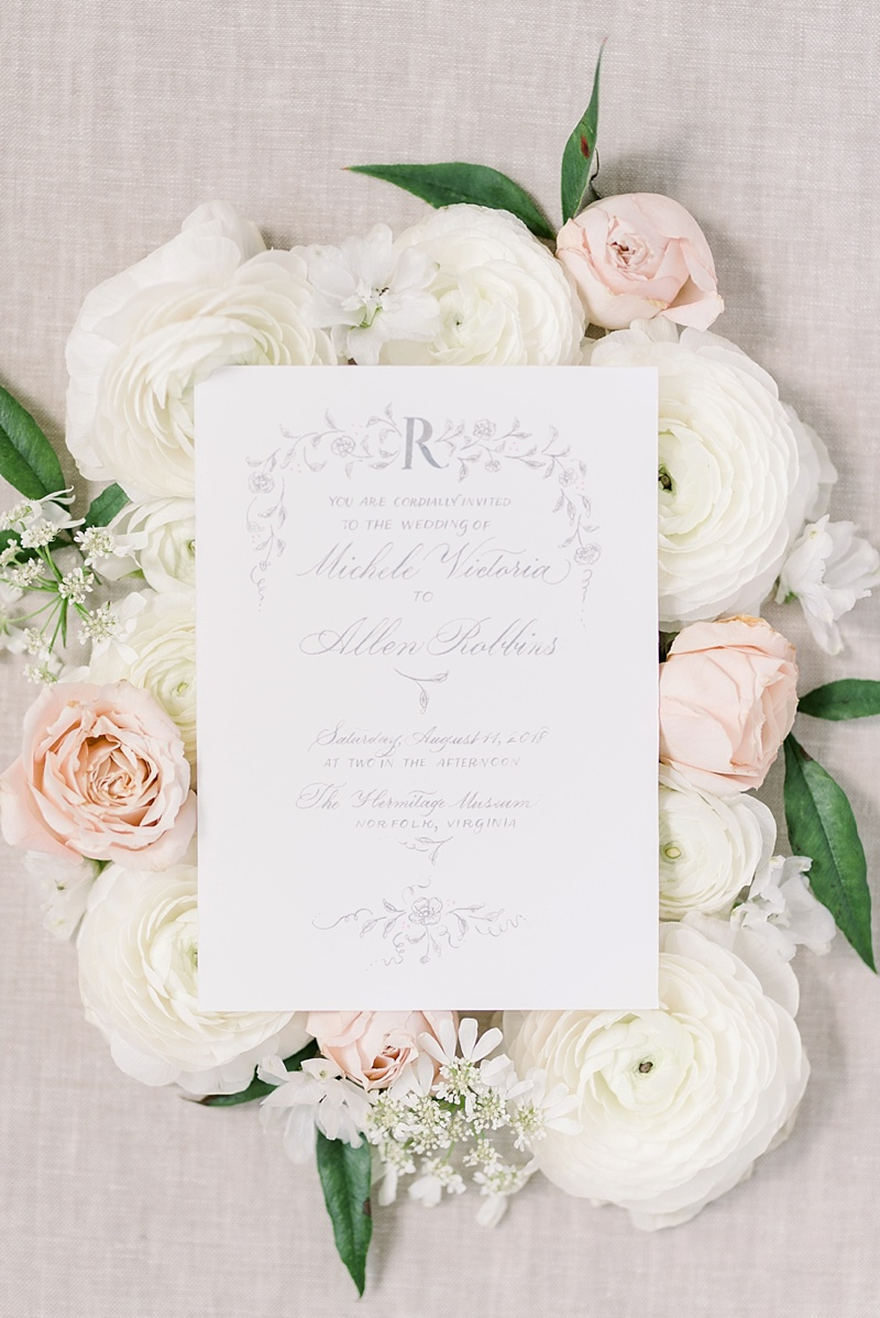 Feminine and romantic wedding invitation for French inspired wedding in Virginia