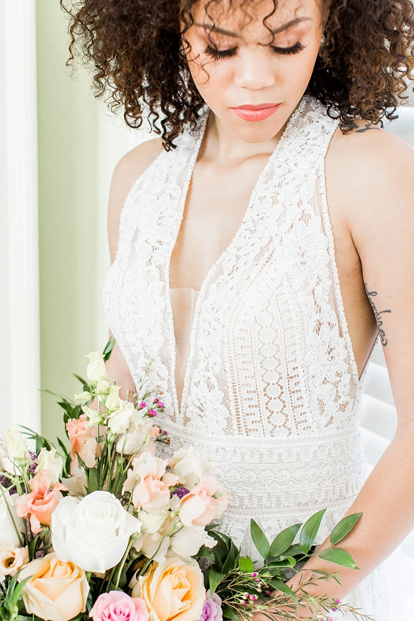 Modern lace halter wedding dress