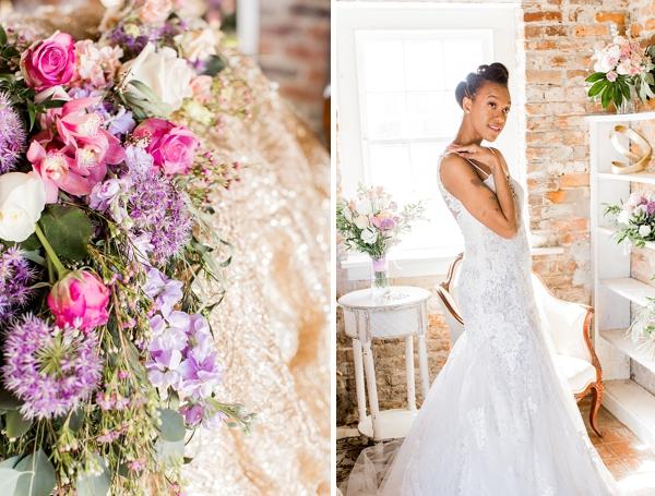 Pink and purple garden wedding flowers