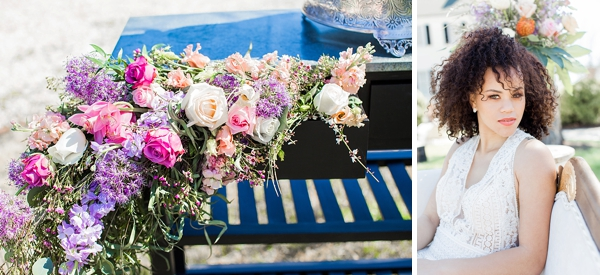 Pink and purple wedding flowers spilling out of vintage furniture