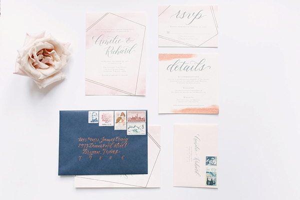 Romantic modern geometric wedding invitation with copper calligraphy
