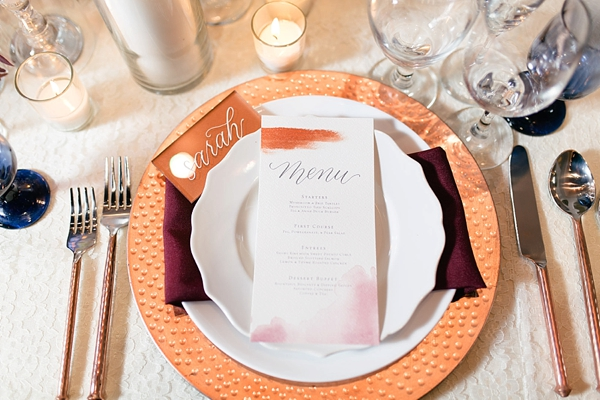 Copper wedding menu card and acrylic place card with white calligraphy