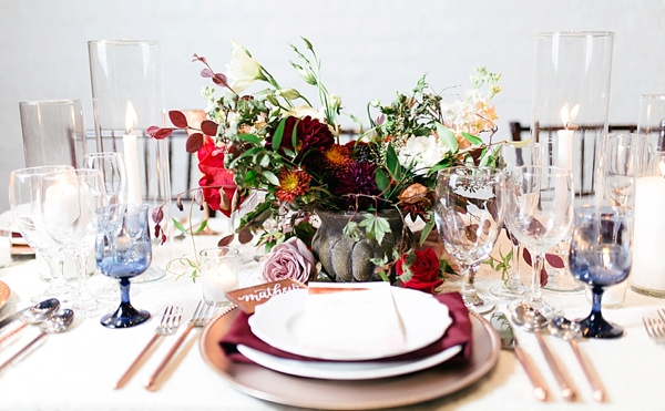 Modern fall wedding centerpiece in concrete vase