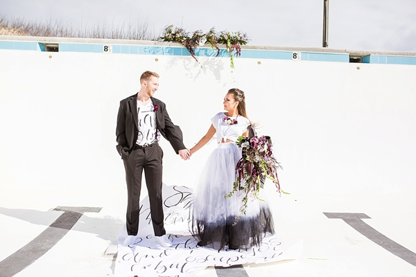 Modern wedding inspiration with calligraphy rug