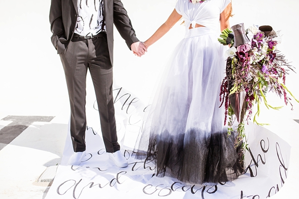 Black ombre dip dye wedding skirt for modern edgy bride