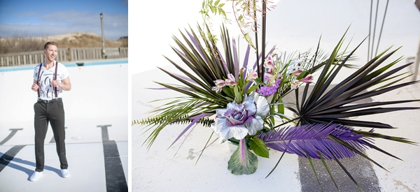 Purple palm leaves for modern wedding centerpiece