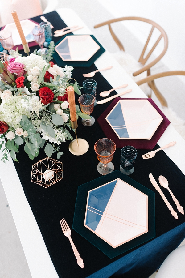 Unique geometric rose gold paper plates