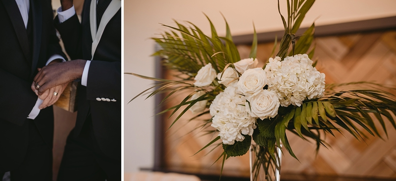 White roses and hydrangeas with tropical greenery for a modern tropical wedding reception look