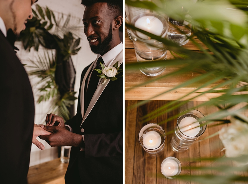 Modern wedding ceremony with two grooms and lots of beautiful tropical greenery