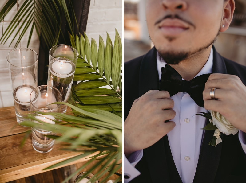 Chic wedding style with black bow tie and tuxedo for modern groom