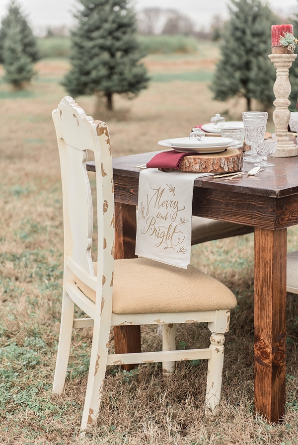 Rustic Christmas wedding table setting and shabby chic furniture