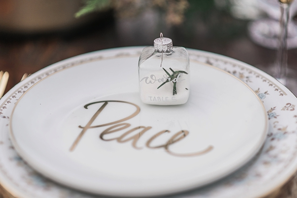 Cute glass Christmas ornaments for wedding escort cards