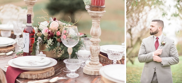 Rustic wedding table with thick wood slabs for plate chargers