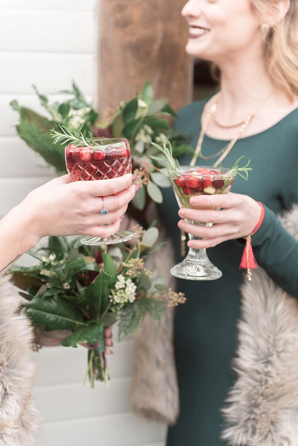 Christmas wedding cocktails with cranberries and rosemary