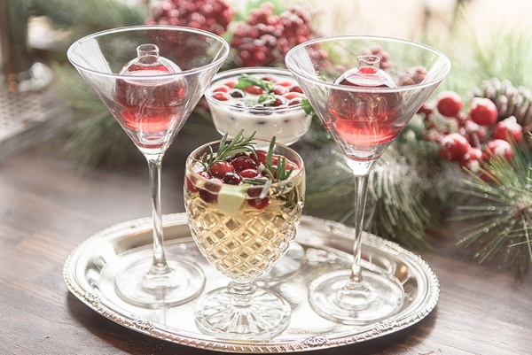 Holiday inspired wedding signature cocktails with cranberries
