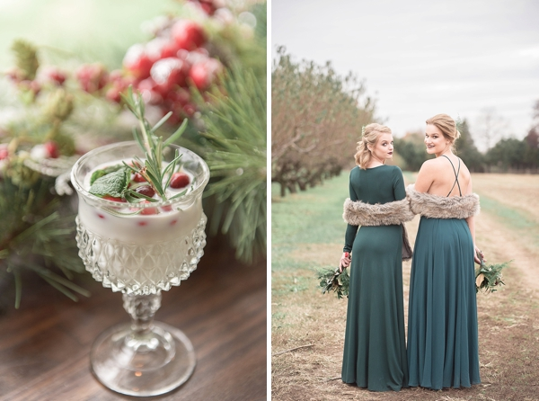 Emerald green bridesmaid dresses for Christmas wedding