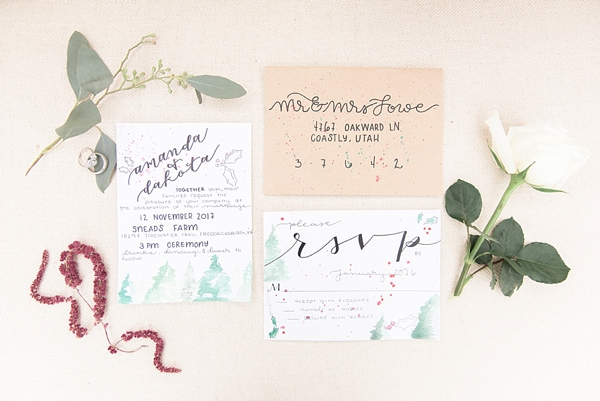 Watercolor Christmas wedding invitations