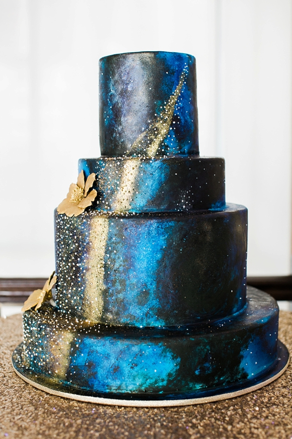 Galaxy wedding cake with gold shimmery stars