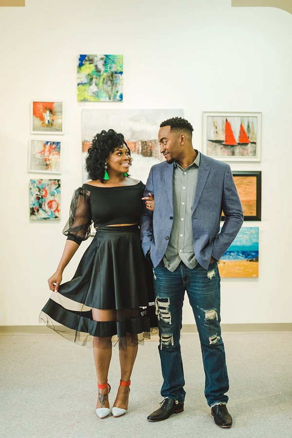 Gorgeous couple engagement session in art gallery