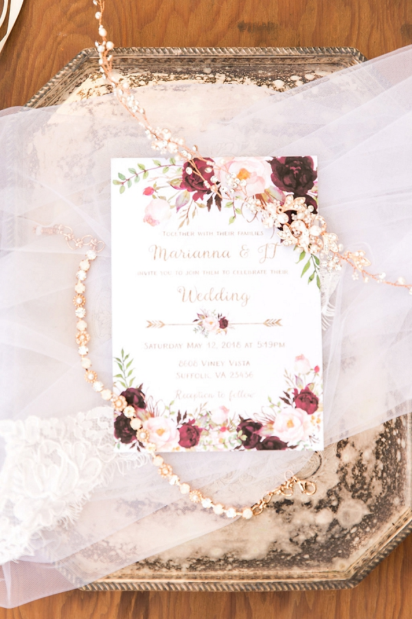 Whimsical watercolor wedding invitations with gold and red colors