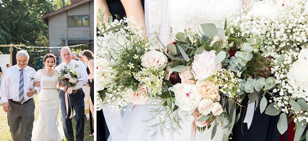Bridesmaid bouquets with babys breath and eucalyptus