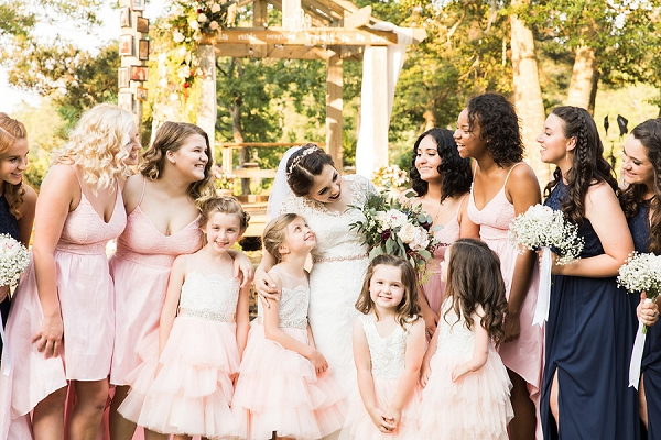 Large wedding party of 30 bridesmaids and groomsmen