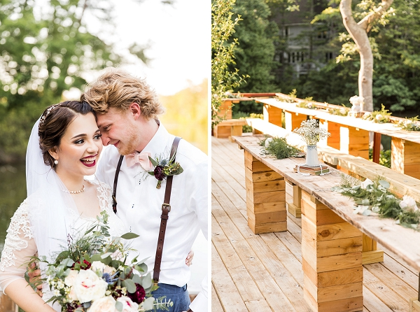 Long natural wood tables for outdoor wedding reception