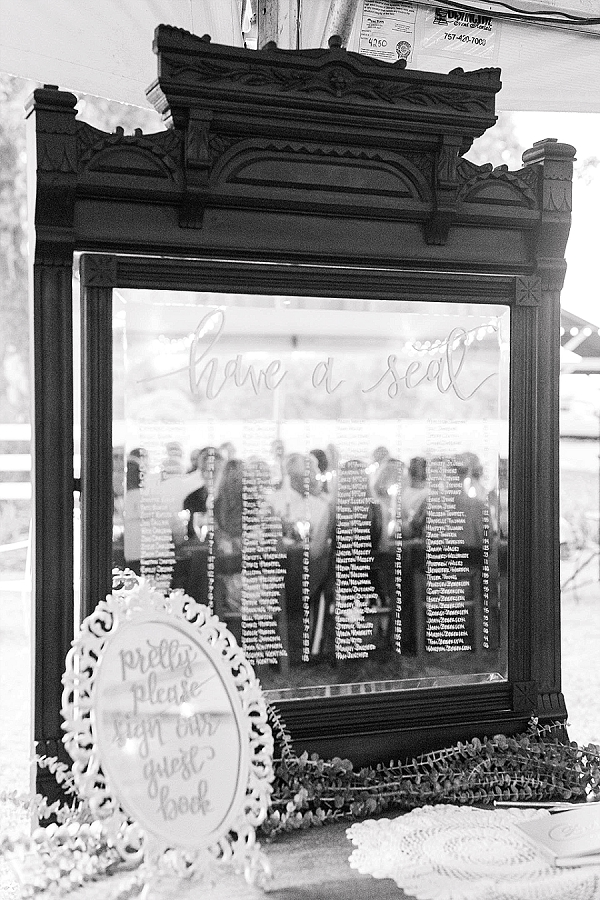 suffolk virginia military wedding mirror seating chart